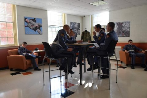 Cadets relaxing in the military lounge