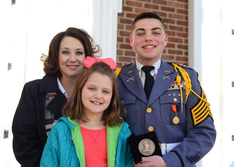 Cadet with family