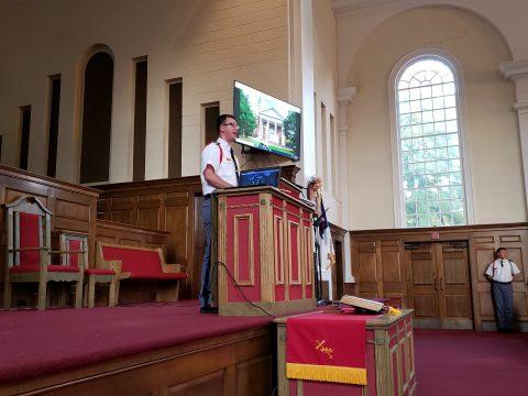 Cadet Soles speaking in chapel