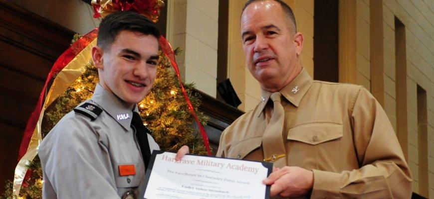 Cadet receiving award