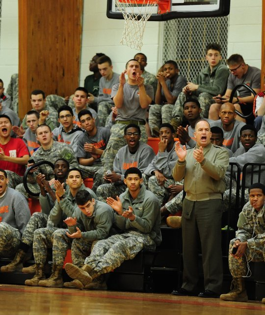 Col Brown and cadets applauding