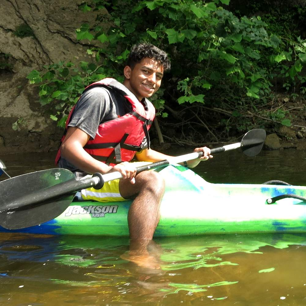 Student on kayak