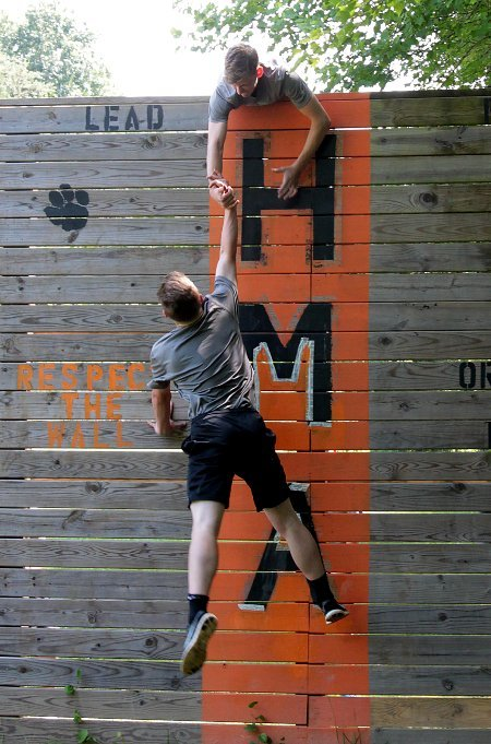 Cadets on the Wall at Leadership Camp