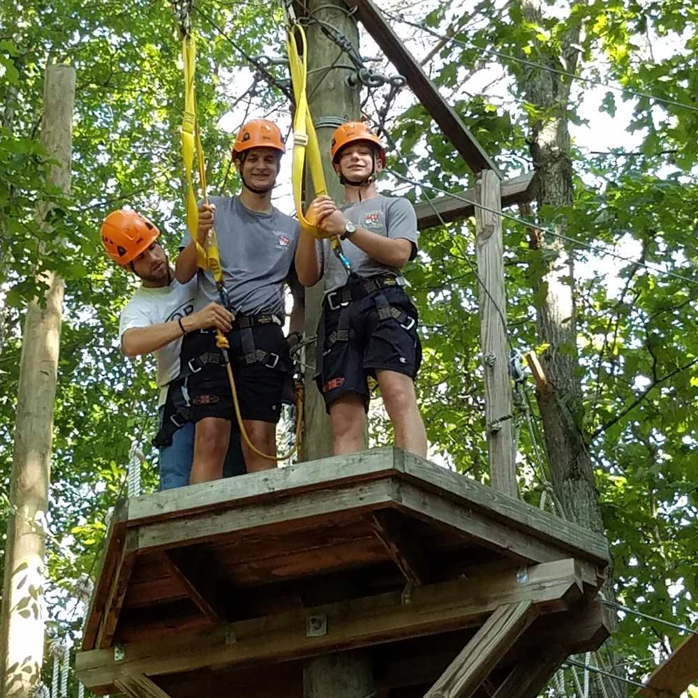 Students on zip lines