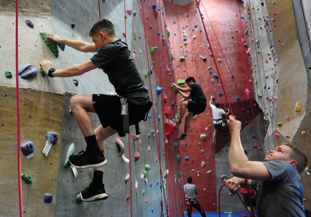 Cadets on climbing wall