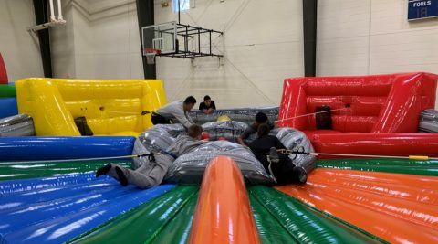 Cadets on inflatable game