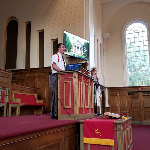 Cadet Soles speaking in chapel